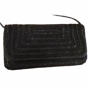 Lord & Taylor Vintage Black Beaded Formal Clutch